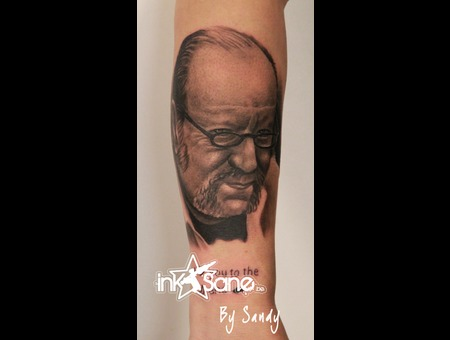 Portrait  Dad  Memorial Black Grey Forearm