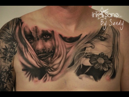 Horror  Sweet  Girl  Mask  Cuts  Teares  Flower  Lady  Chestpiece Black Grey Chest