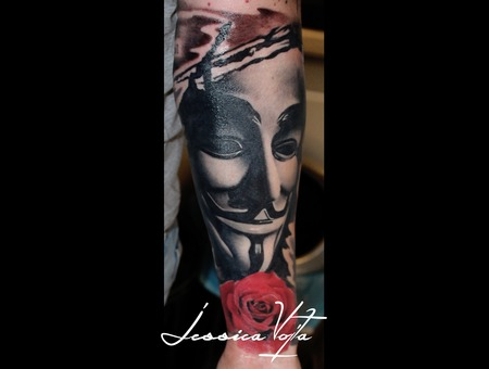 Vendetta  Anonymous  Mask  Rose Black Grey Forearm