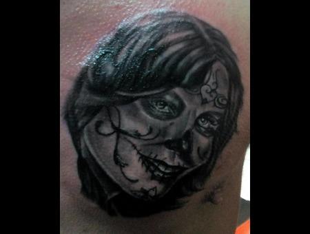 Portrait Realistic Tattoo Black Grey Chest
