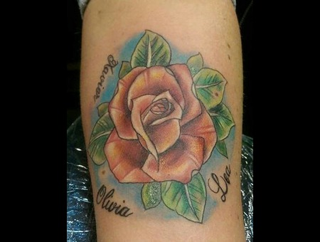 Rose Color Neotraditional Color Forearm