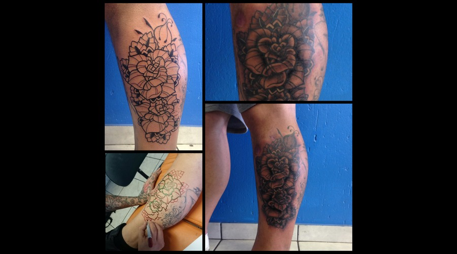 Roses  Freehand  Black Grey Lower Leg