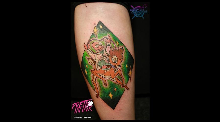 Bambi  Futurama  Zoidberg  Disney  Color Tattoo  Nerd  Geek  Cartoon  Color Lower Leg