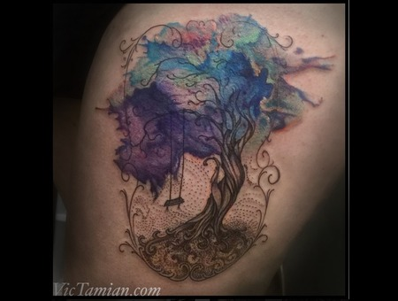 Watercolor Tree Watercolortattoo Treetattoo Swing Original Dotwork Stipple Color Thigh