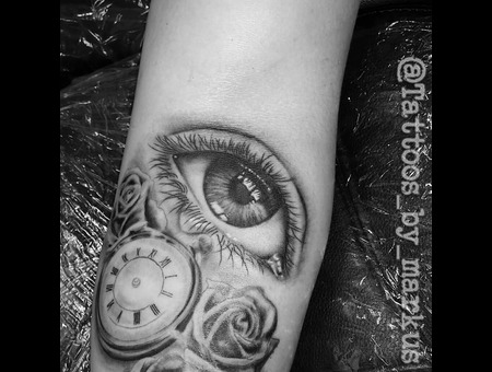 Eye Tattoo   Tear Tattoo  Realistic Tattoo Black Grey Forearm