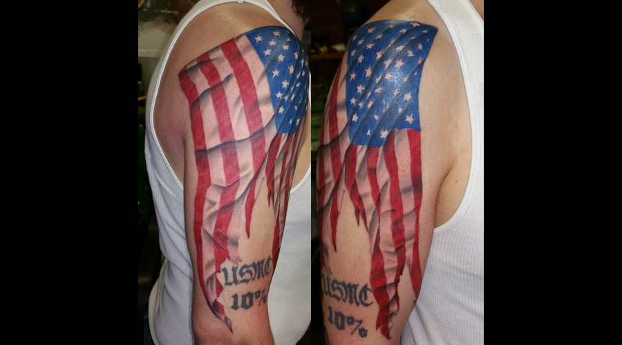 Flag  America  Realism  Photo Realism Color Arm