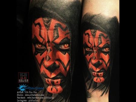Darth Maul Color Portrait Tattoo By Pit Fun Color Forearm