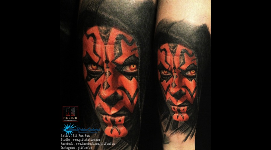 Darth Maul Color Portrait Tattoo By Pit Fun Color Forearm