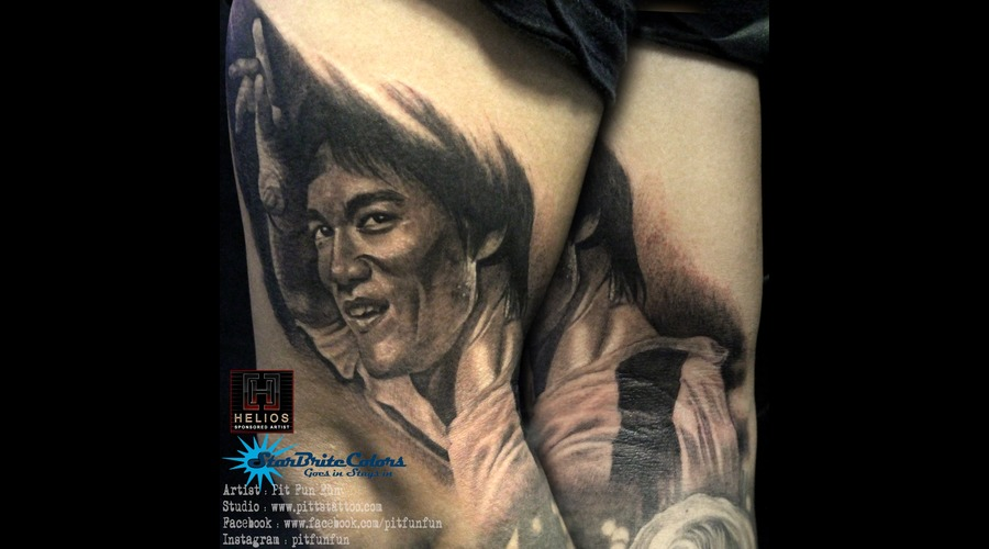 Bruce Lee Portrait  Black Grey Arm