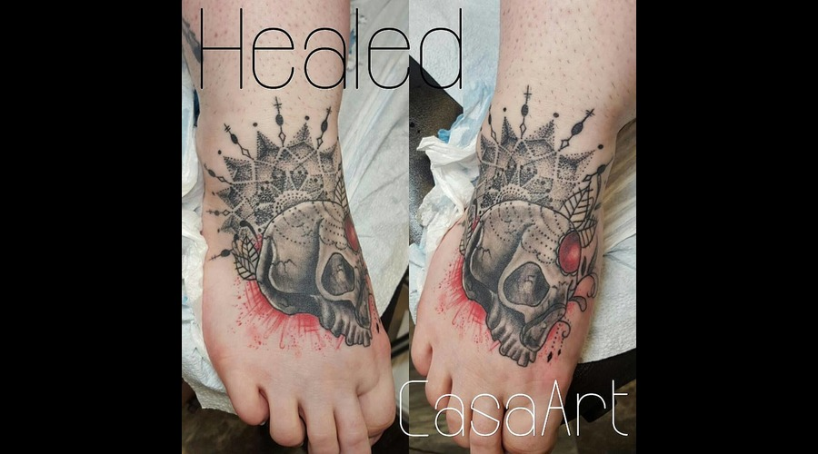 Healed  Mandala  Skull  Dot Work Black Grey