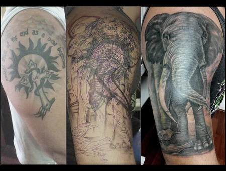 Elephant  Cover Up  Black&Gray Black Grey Arm