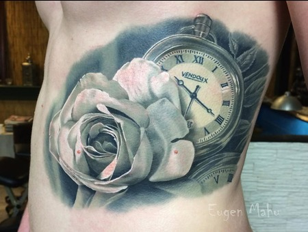 Tattoo  Realistic. Art  Rose Black Grey Ribs