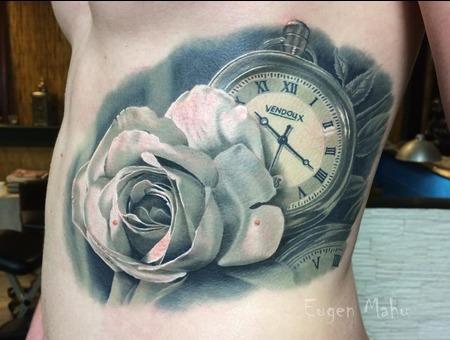 Tattoo  Realistic. Art  Rose Black Grey Ribs