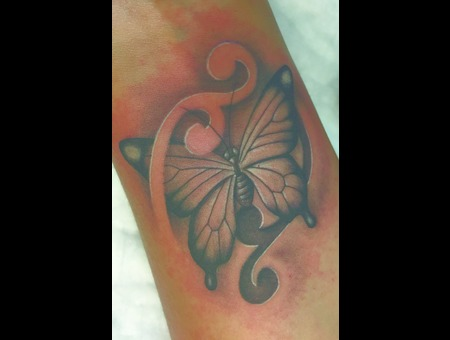 Butterfly Black Grey Forearm