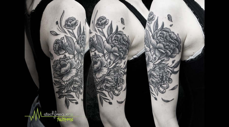 Flowers  Dotwork Black Grey Forearm