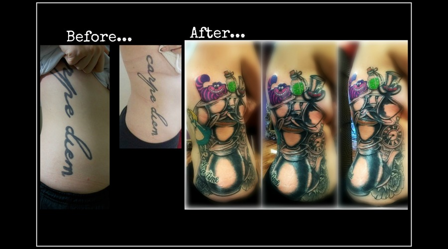 Cover Up Tattoo  Alice In Wonderland Black Grey Ribs