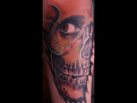 #Skull #Evildeadtattoo #Tattoo #Reno #Renotattoo #Hashtag #Tattooshop #Chea Color Lower Leg