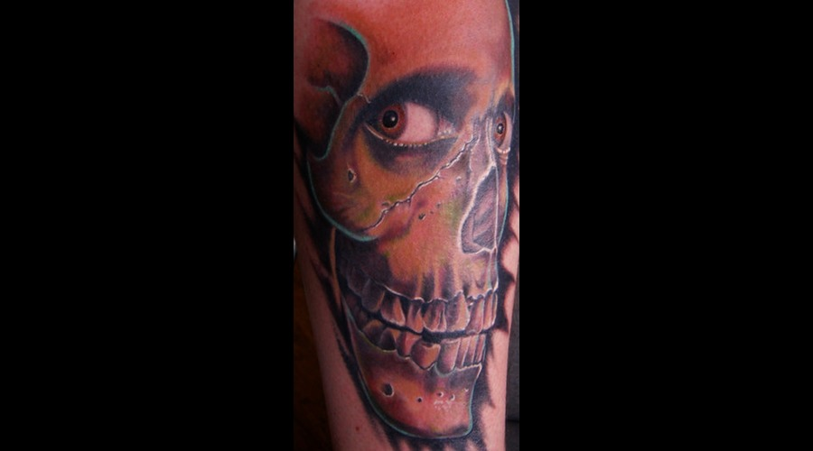 #Skull #Evildeadtattoo #Tattoo #Reno #Renotattoo #Hashtag #Tattooshop #Chea Color Lower Leg