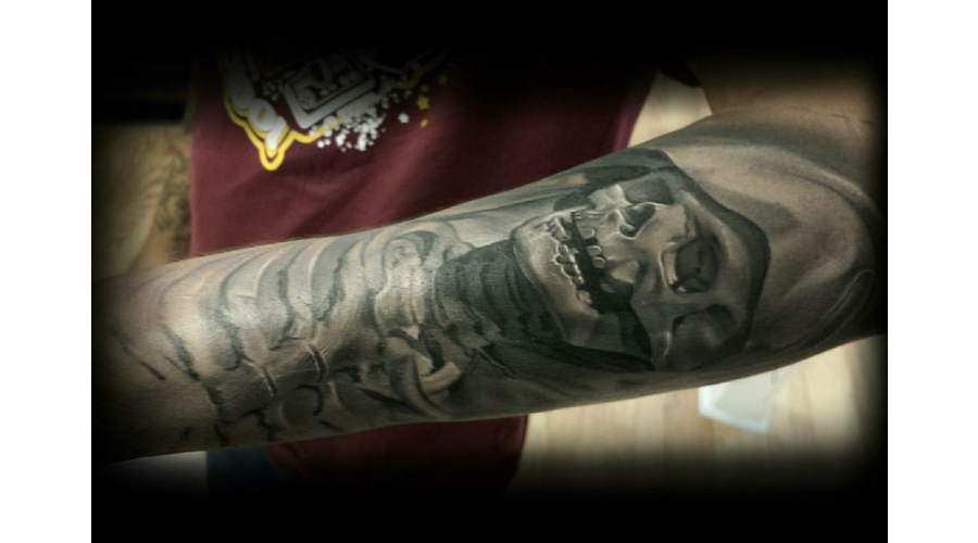 Skull  Sleeve  Black And Grey  Realism Black Grey Forearm