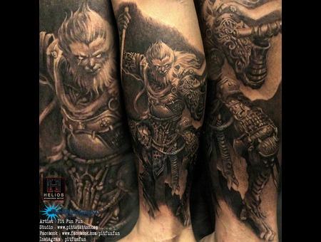 Monkey King Sun Wu Kong Cover Up  Black Grey Lower Leg