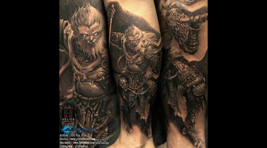 Monkey King Sun Wu Kong Cover Up  Black Grey Lower Leg