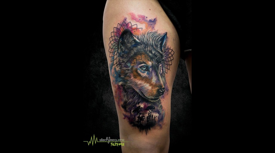 Wolf  Watercolor  Watercolour  Abstract  Realistic Color Thigh