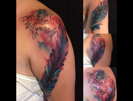 Watercolor  Feather  Women  Girls  Script  Pretty  Colorful  Beautiful Color Arm