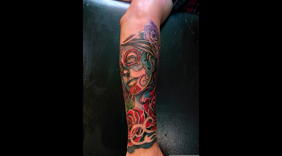 #Colortattoo #Santamuerte Color Arm