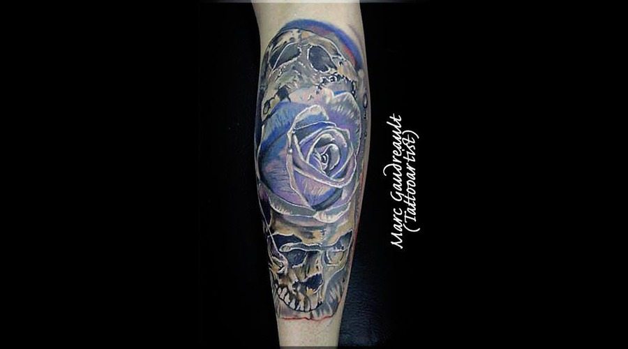 #Roses #Skull #Realistic Color Arm