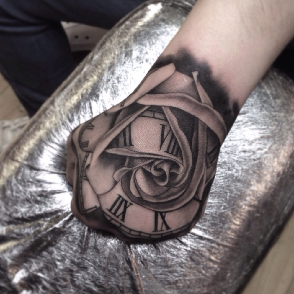 Clock forearm black rose sleeve tattoo - Rose Clock Black Grey Forearm