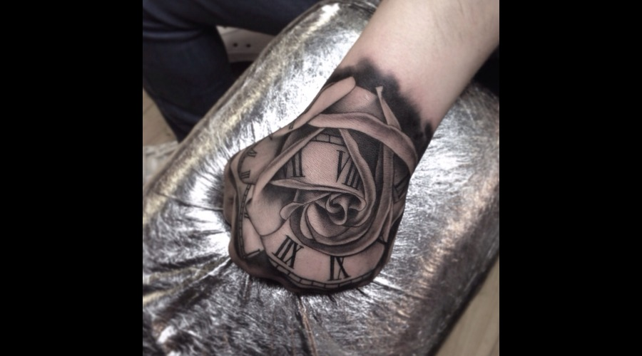 Rose Clock  Black Grey Forearm