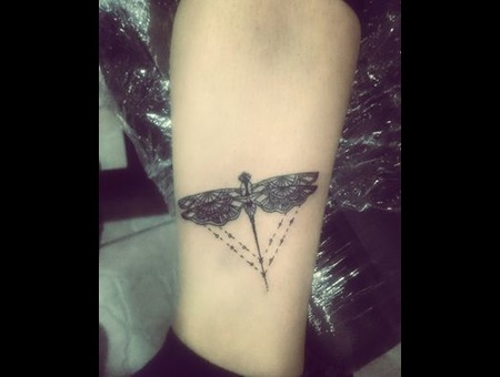 #Dragonfly #Tattoo  Black Grey Lower Leg