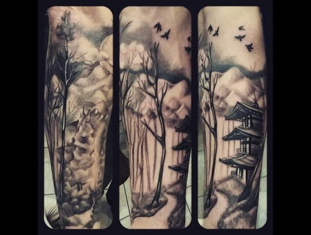 #Forest #Tattoo #Realistic Black Grey Arm