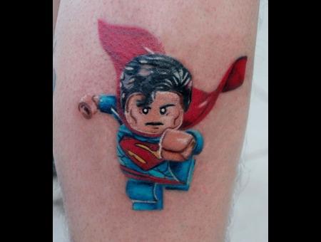 Lego  Superman  Super Hero  Color Tattoo Color Lower Leg