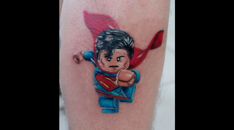 Lego  Superman  Super Hero  Color Tattoo Color Lower Leg