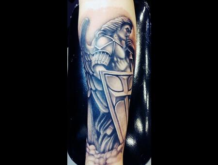 #Angel #Angelmichaeltattoo #Tattoo #Reno #Renotattoo #Hashtag #Tattooshop # Black Grey Forearm