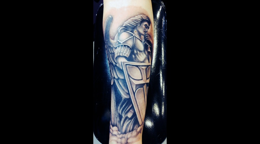 #Angel #Angelmichaeltattoo #Tattoo #Reno #Renotattoo #Hashtag #Tattooshop # Black Grey Forearm