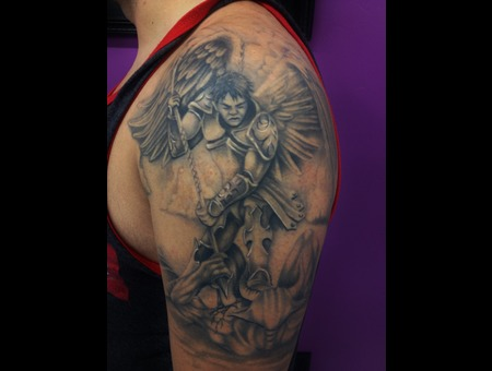#Angel #Angelmichaeltattoo #Tattoo #Reno #Renotattoo #Hashtag #Tattooshop # Black Grey Shoulder