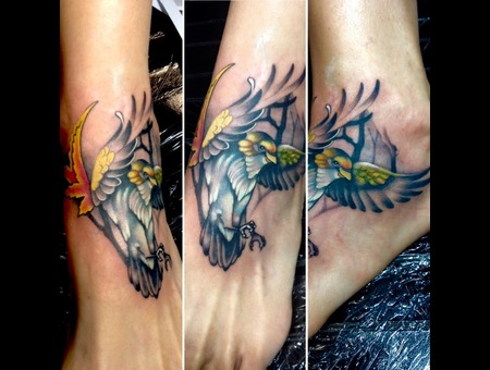 #Bird #Birdtattoo #Tattoo #Reno #Renotattoo #Hashtag #Tattooshop #Cheatingh Color Foot