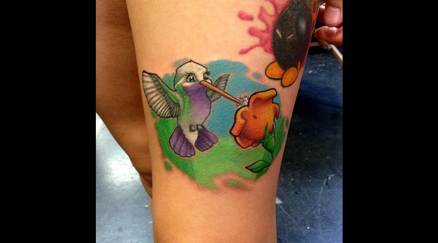 Humming  Bird  New  School  Custom  Color  Flower Color Thigh