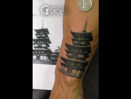 Japanese  Tower  Portrait  Black  Grey  White  Black Grey Forearm