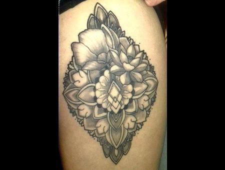 Mandala Mandalaflower Thightattoo Black Grey Thigh