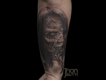 Zombie Tattoo  Walking Dead  Walker Tattoo  Realistic  Black And Grey  Black Grey Forearm