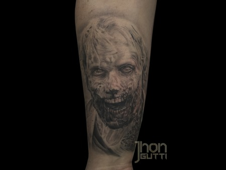 Greg Nicotero  Portrait Tattoo  Black And Grey Tattoo  Walking Dead Tattoo Black Grey Forearm