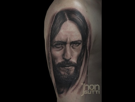 Jesus Portrait  Black And Grey Tattoo Black Grey Shoulder