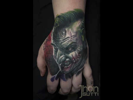 Hand Tattoo  Joker Tattoo  Color Portrait  The Joker  Batman Tattoo   Color Forearm