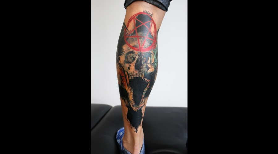 Skull  Watercolour  Painting  Devil  Color Lower Leg