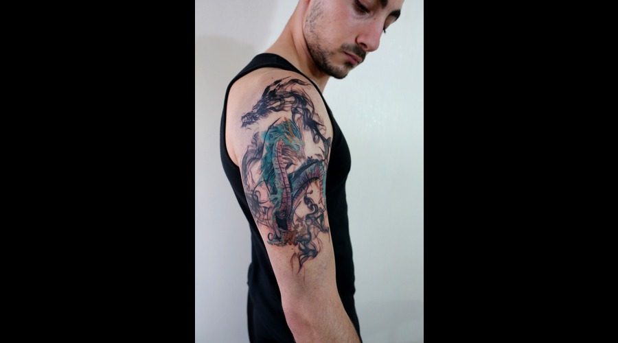 Dragon  Smokedragon  Chinese  Watercolour  Realistic Color Arm