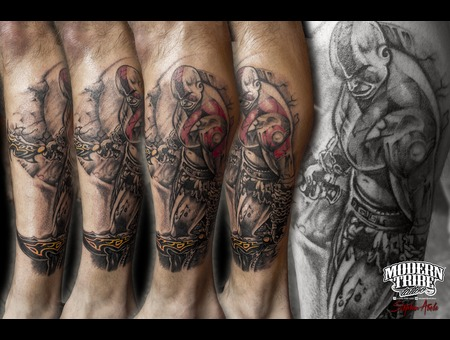 Kratos  God Of War Black Grey Lower Leg