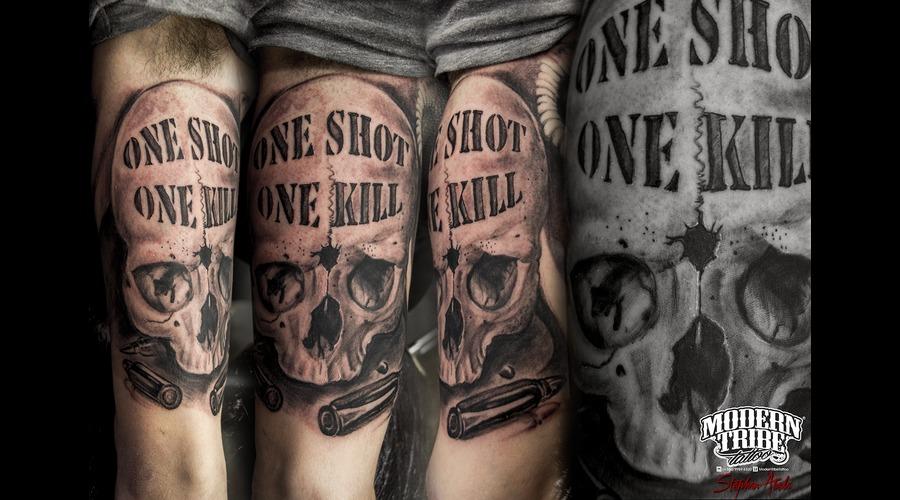 Skull Black Grey Arm